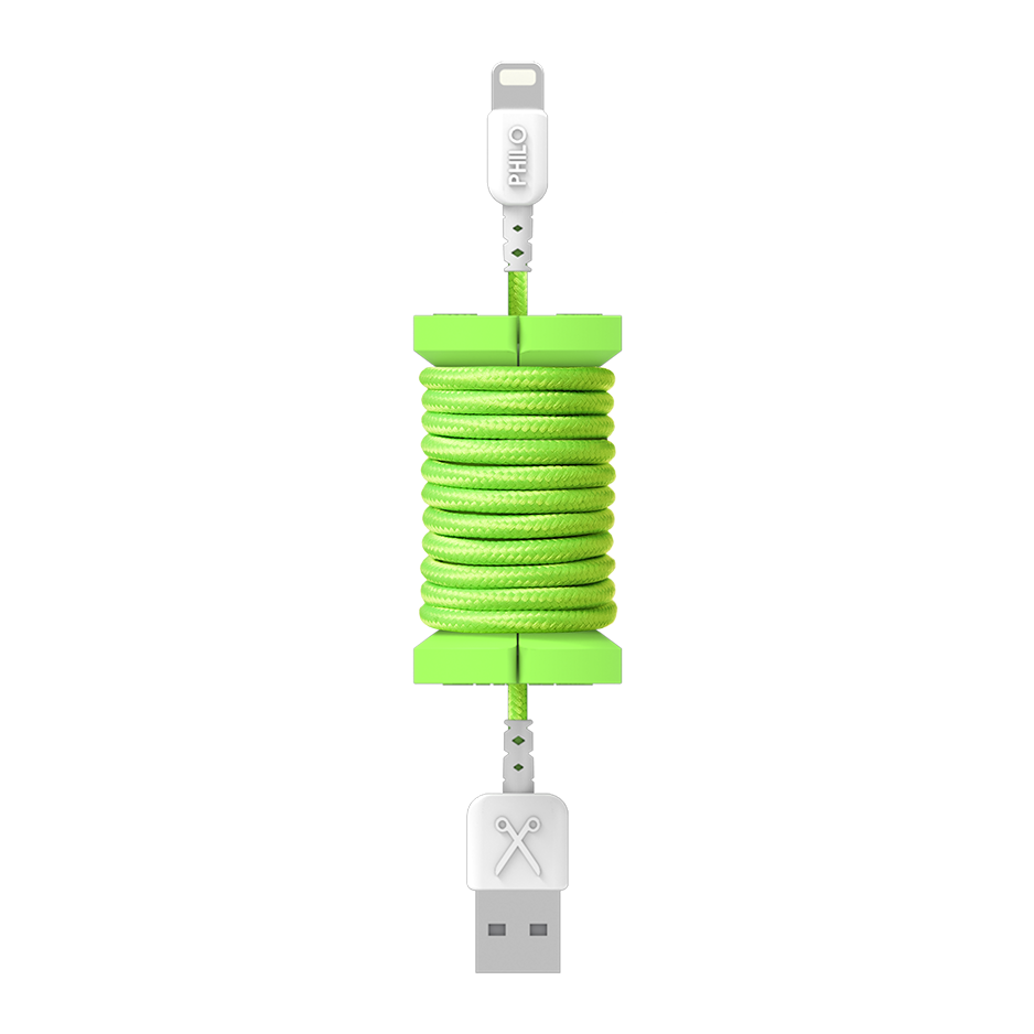 PHILO Spool Cable Neon Green